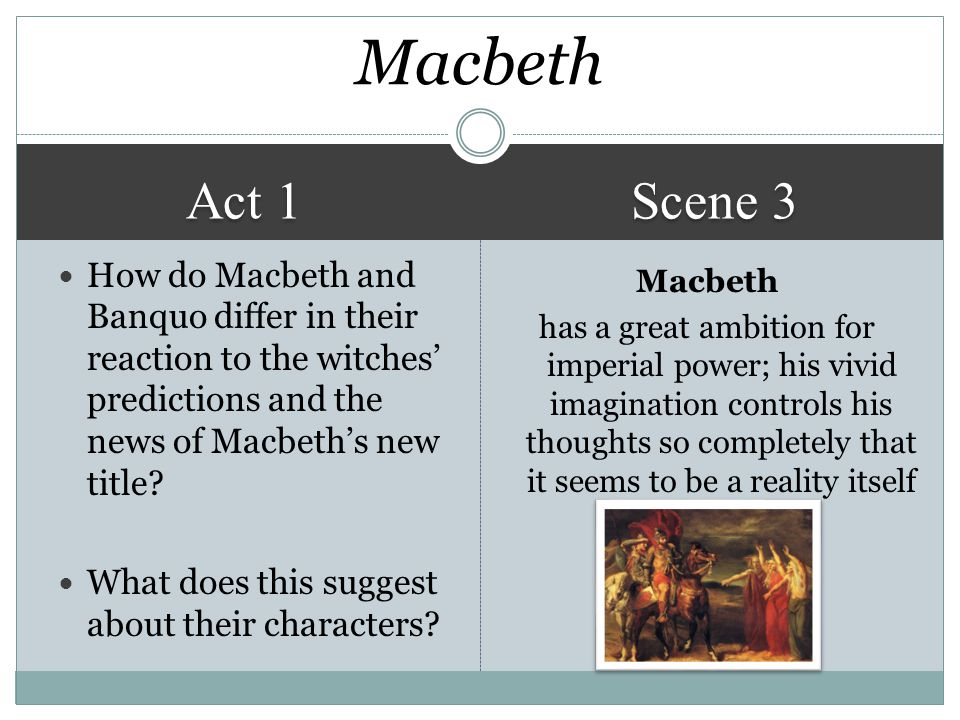 Act 1 Scene 3 Macbeth has a great ambition for imperial power; his vivid imagination controls his thoughts so completely that it seems to be a reality itself Macbeth How do Macbeth and Banquo differ in their reaction to the witches' predictions and the news of Macbeth's new title.
