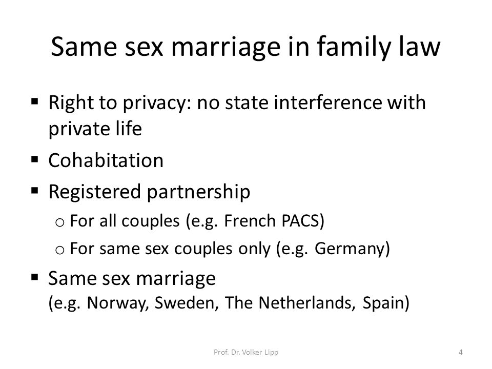 Same sex marriage in family law  Right to privacy: no state interference with private life  Cohabitation  Registered partnership o For all couples (e.g.