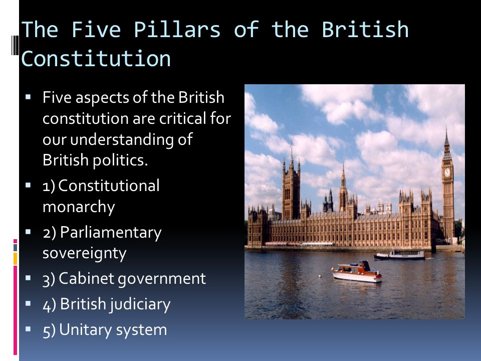 The Five Pillars of the British Constitution  Five aspects of the British constitution are critical for our understanding of British politics.