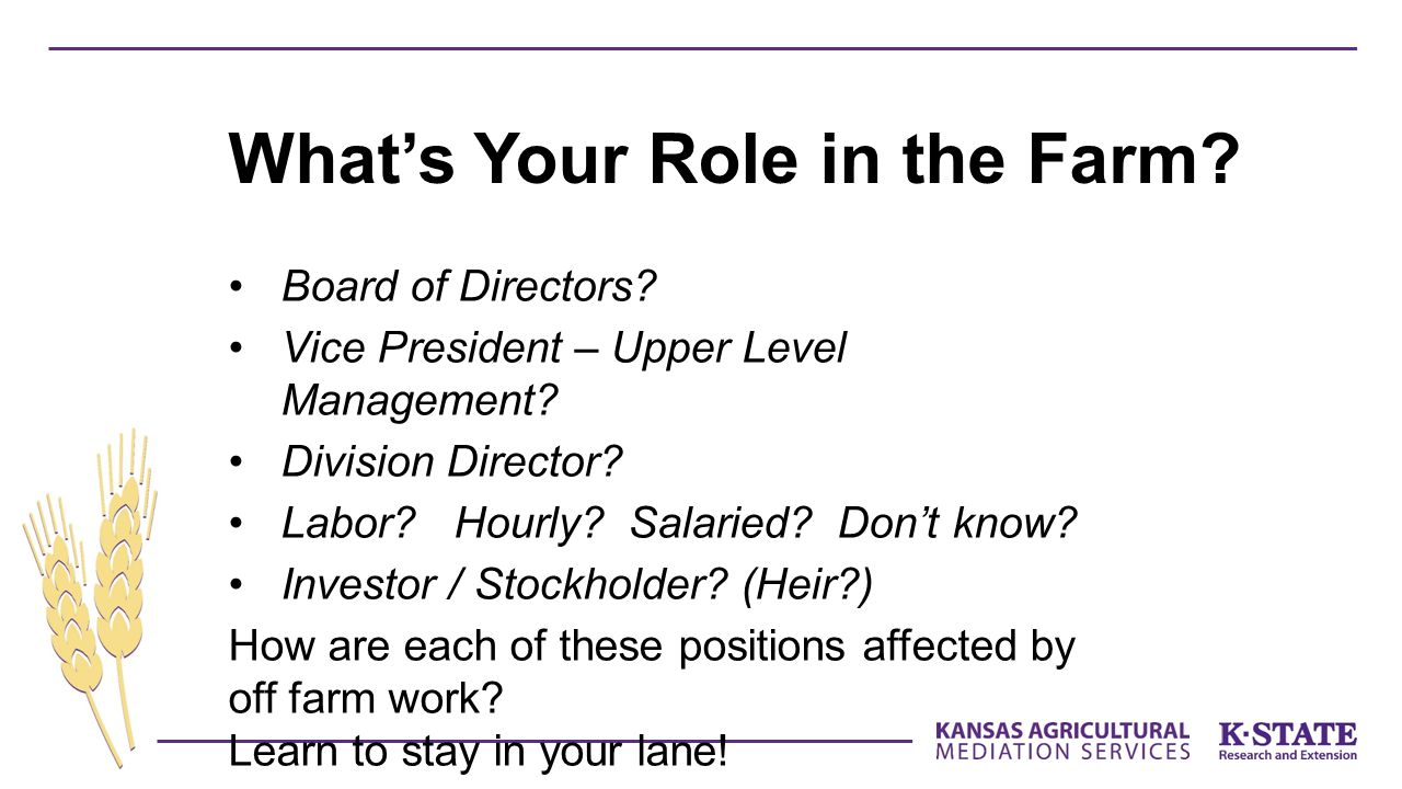 What's Your Role in the Farm? Board of Directors? Vice President – Upper Level Management? Division Director? Labor? Hourly? Salaried? Don't know? Inv