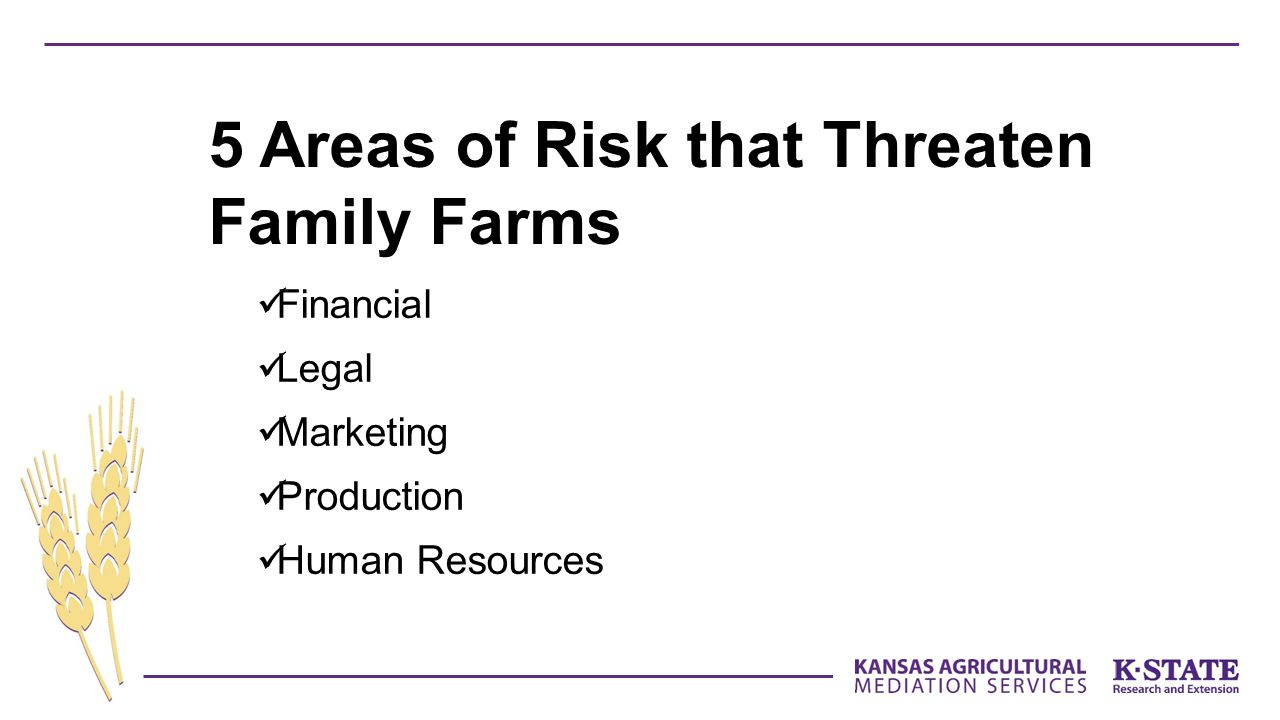Financial Legal Marketing Production Human Resources 5 Areas of Risk that Threaten Family Farms