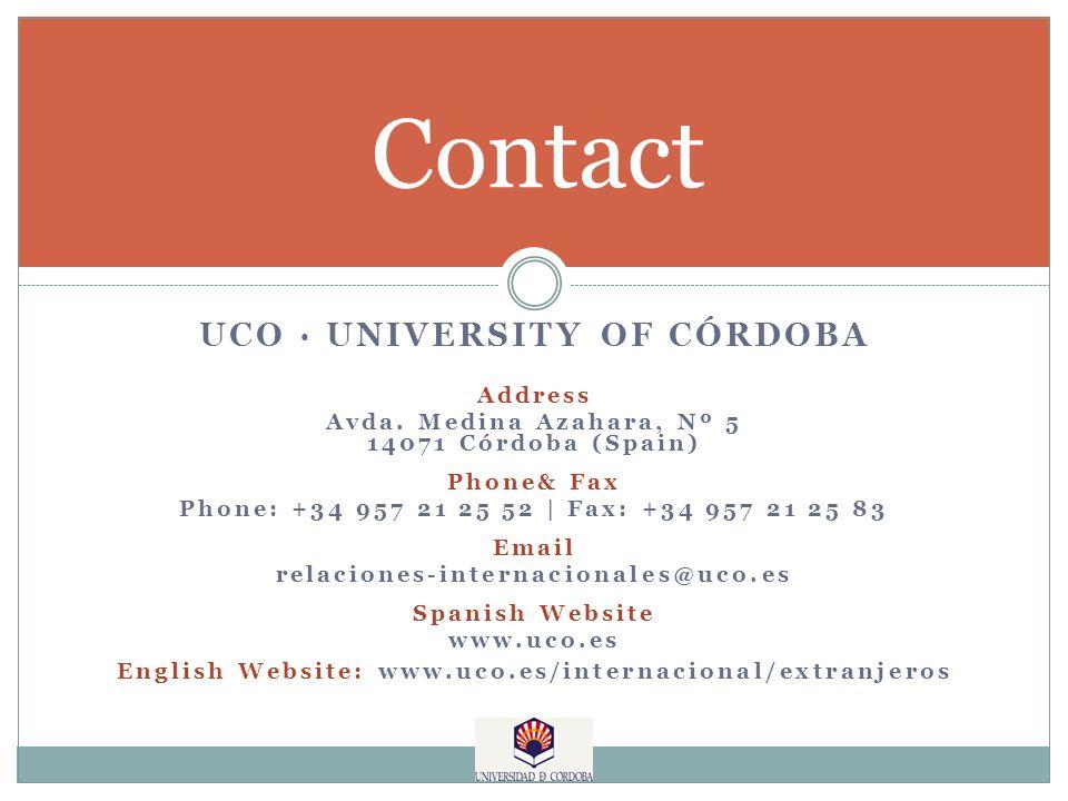 Contact UCO · UNIVERSITY OF CÓRDOBA Address Avda.