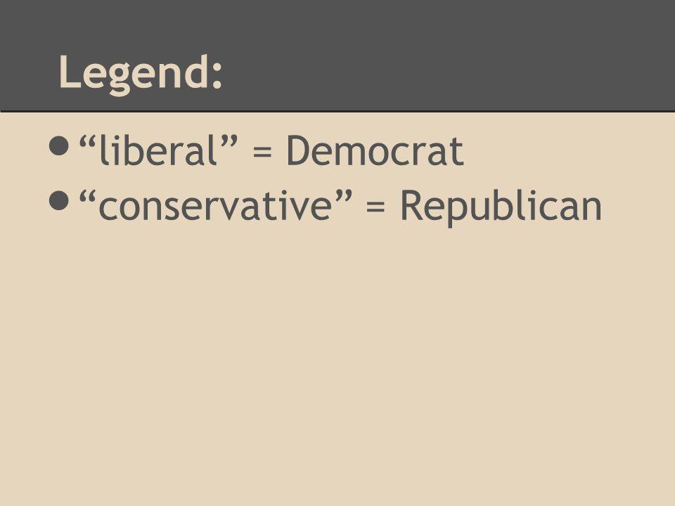 Legend: liberal = Democrat conservative = Republican