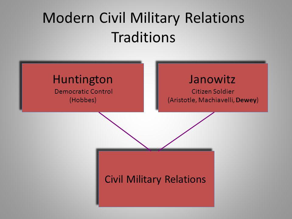 Modern Civil Military Relations Traditions Huntington Democratic Control (Hobbes) Huntington Democratic Control (Hobbes) Janowitz Citizen Soldier (Ari