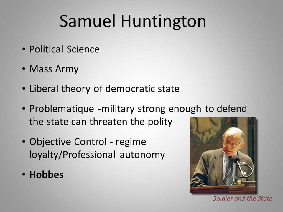 Political Science Mass Army Liberal theory of democratic state Problematique -military strong enough to defend the state can threaten the polity Objec