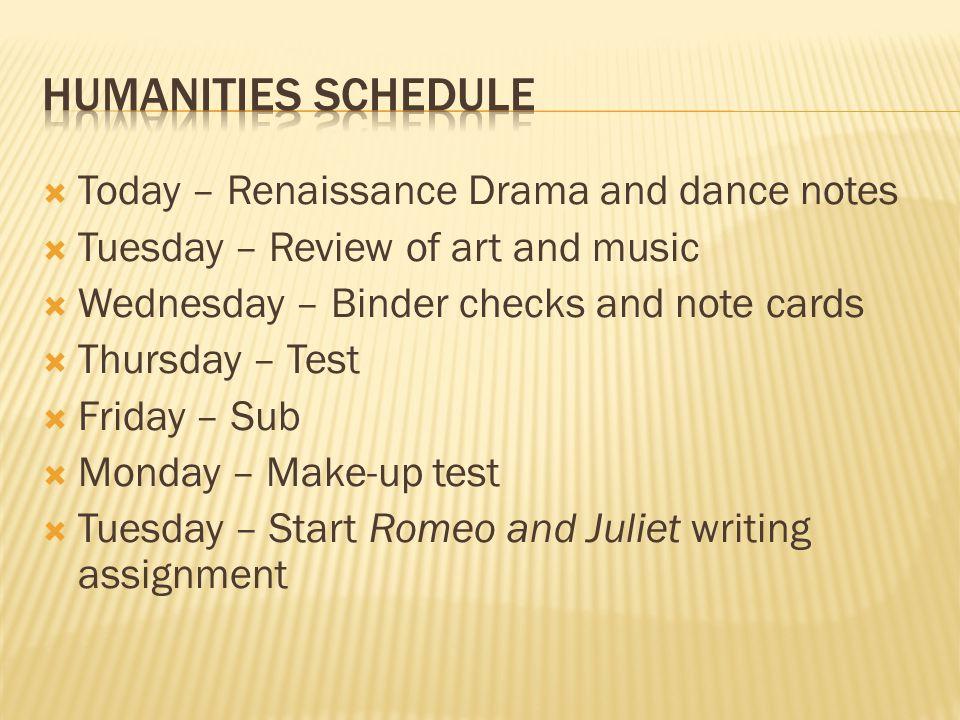  3-4 Sentence summary on Renaissance Dance  Binder Checks Monday