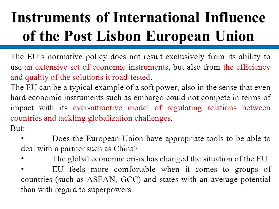 Different Interests of the Member States Important issue in the disscussion about EU's normative power are interests of the member states.