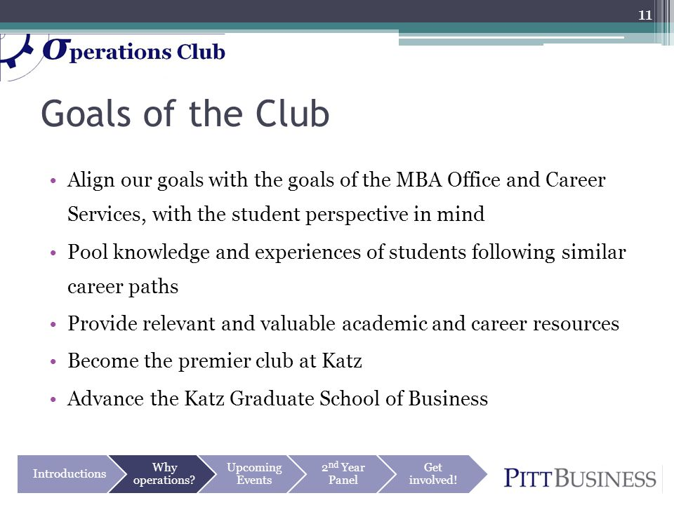 Goals of the Club Align our goals with the goals of the MBA Office and Career Services, with the student perspective in mind Pool knowledge and experiences of students following similar career paths Provide relevant and valuable academic and career resources Become the premier club at Katz Advance the Katz Graduate School of Business Introductions Why operations.