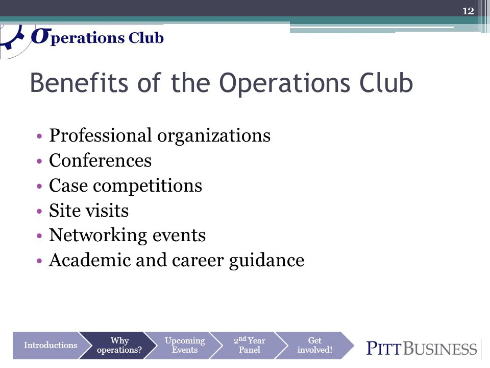 Benefits of the Operations Club Professional organizations Conferences Case competitions Site visits Networking events Academic and career guidance 12 Introductions Why operations.