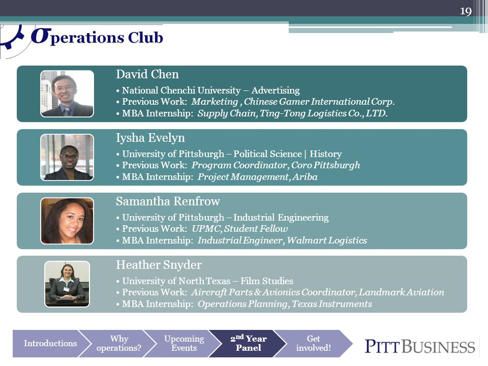 Introductions Why operations? Upcoming Events 2 nd Year Panel Get involved! David Chen National Chenchi University – Advertising Previous Work: Market