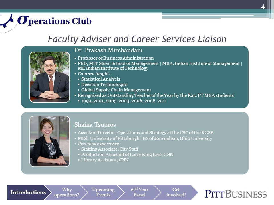 Faculty Adviser and Career Services Liaison Introductions Why operations? Upcoming Events 2 nd Year Panel Get involved! Dr. Prakash Mirchandani Profes
