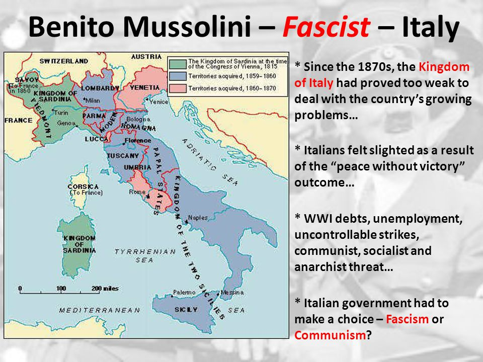 Benito Mussolini – Fascist – Italy * Benito Mussolini organizes the fascist movement in 1919 as a result of the rising tensions in Italy ( Black Shirts ) 1.) Absolute Power of the State : strong centralized gov't (totalitarian control) – STATE > individual 2.) Rule by a Dictator : charismatic, all-powerful dictators make decisions for the state.