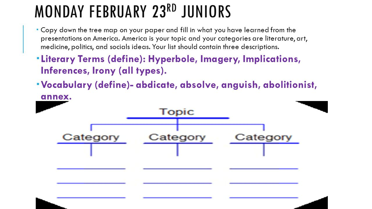 MONDAY FEBRUARY 23 RD JUNIORS  Copy down the tree map on your paper and fill in what you have learned from the presentations on America. America is y
