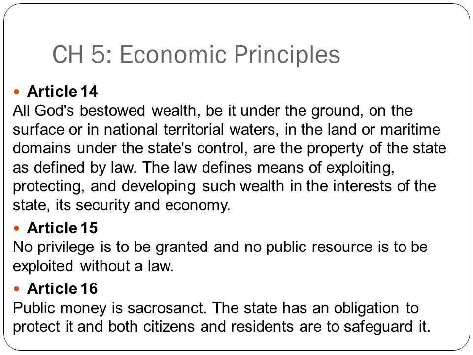 CH 5: Economic Principles Article 14 All God s bestowed wealth, be it under the ground, on the surface or in national territorial waters, in the land or maritime domains under the state s control, are the property of the state as defined by law.