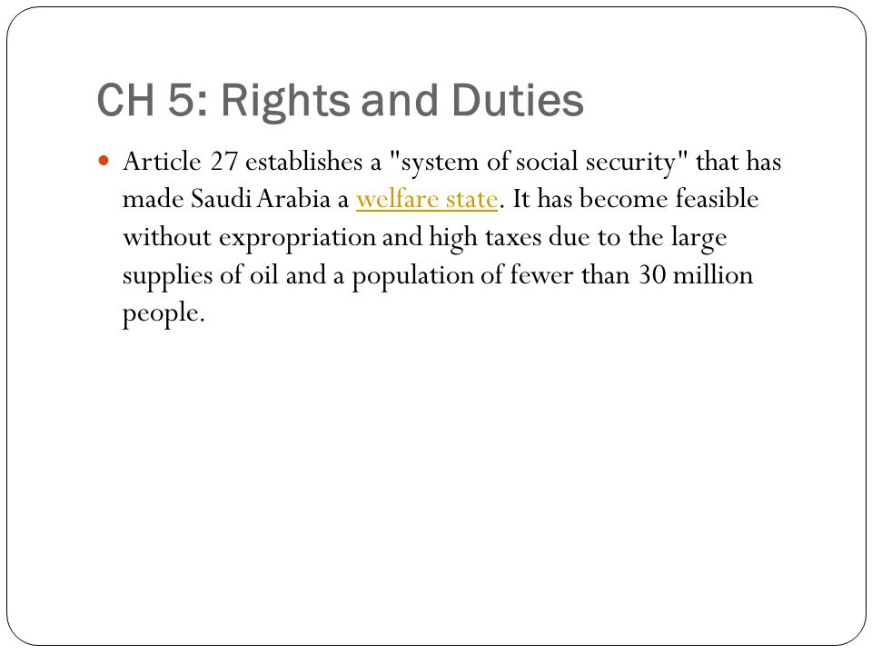 CH 5: Rights and Duties Article 27 establishes a