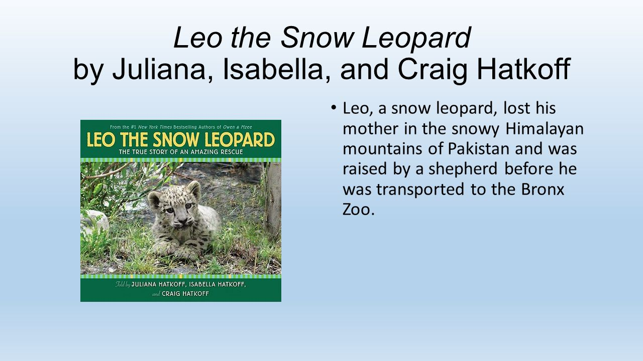 Leo the Snow Leopard by Juliana, Isabella, and Craig Hatkoff Leo, a snow leopard, lost his mother in the snowy Himalayan mountains of Pakistan and was raised by a shepherd before he was transported to the Bronx Zoo.