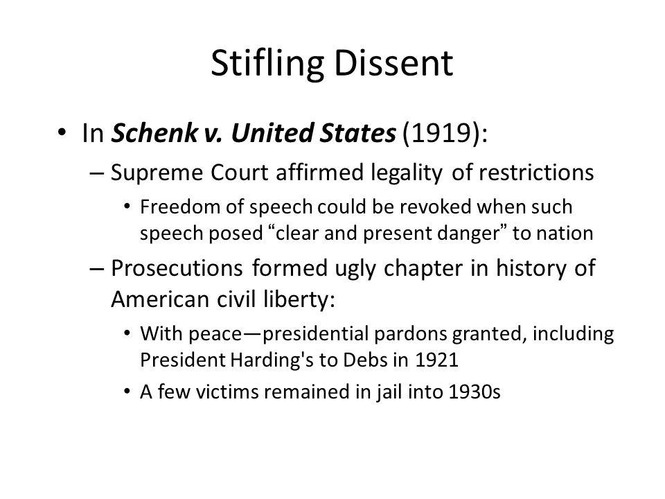 Stifling Dissent In Schenk v.