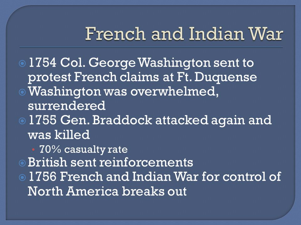  1754 Col. George Washington sent to protest French claims at Ft.