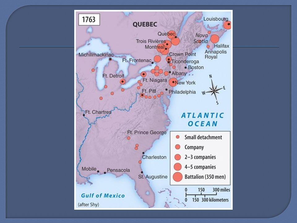  Shortly after conflict began a larger global war broke out (7 Years War) included Prussians, Austrians, Russians, French, British 1763 Treaty of Paris gave British control of Canada, land south along Miss., all of Eastern North America Drove French from India, Martinique, Guadaloupe Drove Spanish from Cuba, Florida and the Philipines Proclamation Line of 1763 prohibited settlement beyond Appalachians