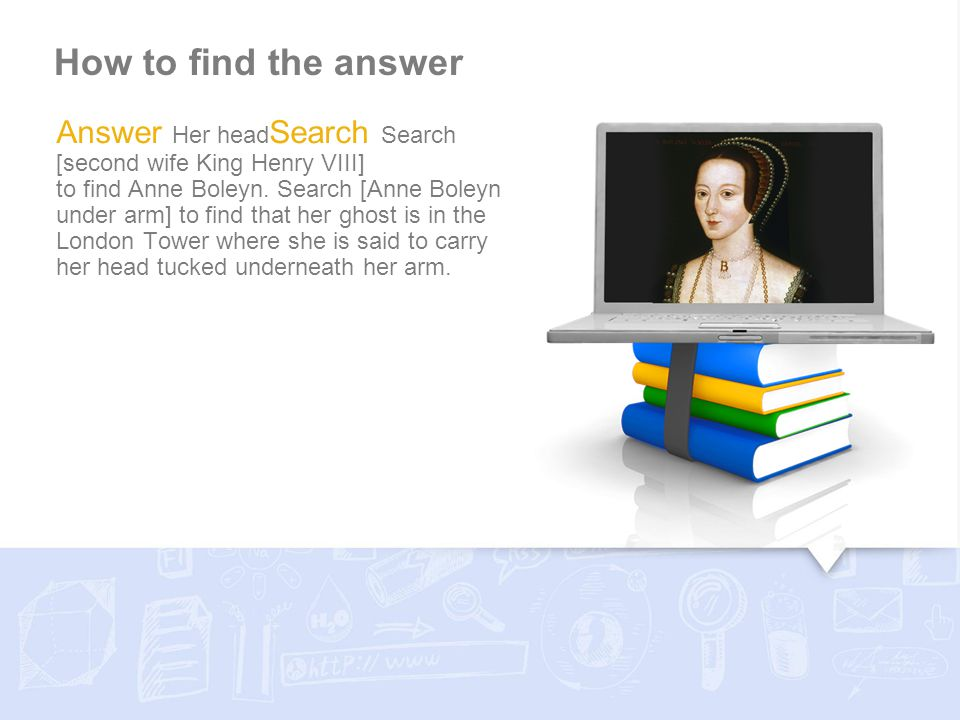 How to find the answer Answer Her head Search Search [second wife King Henry VIII] to find Anne Boleyn. Search [Anne Boleyn under arm] to find that he