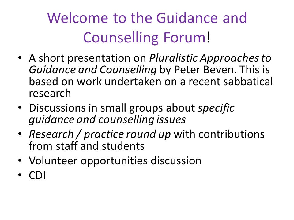 Welcome to the Guidance and Counselling Forum.