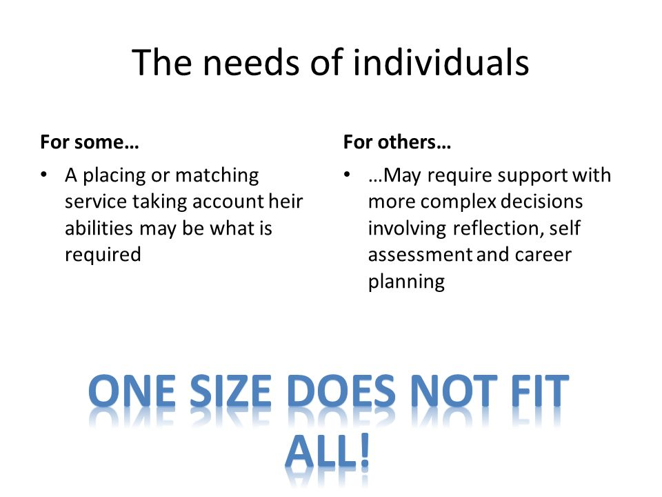 The needs of individuals For some… A placing or matching service taking account heir abilities may be what is required For others… …May require support with more complex decisions involving reflection, self assessment and career planning