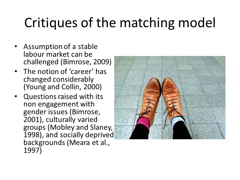 Critiques of the matching model Assumption of a stable labour market can be challenged (Bimrose, 2009) The notion of 'career' has changed considerably (Young and Collin, 2000) Questions raised with its non engagement with gender issues (Bimrose, 2001), culturally varied groups (Mobley and Slaney, 1998), and socially deprived backgrounds (Meara et al., 1997)