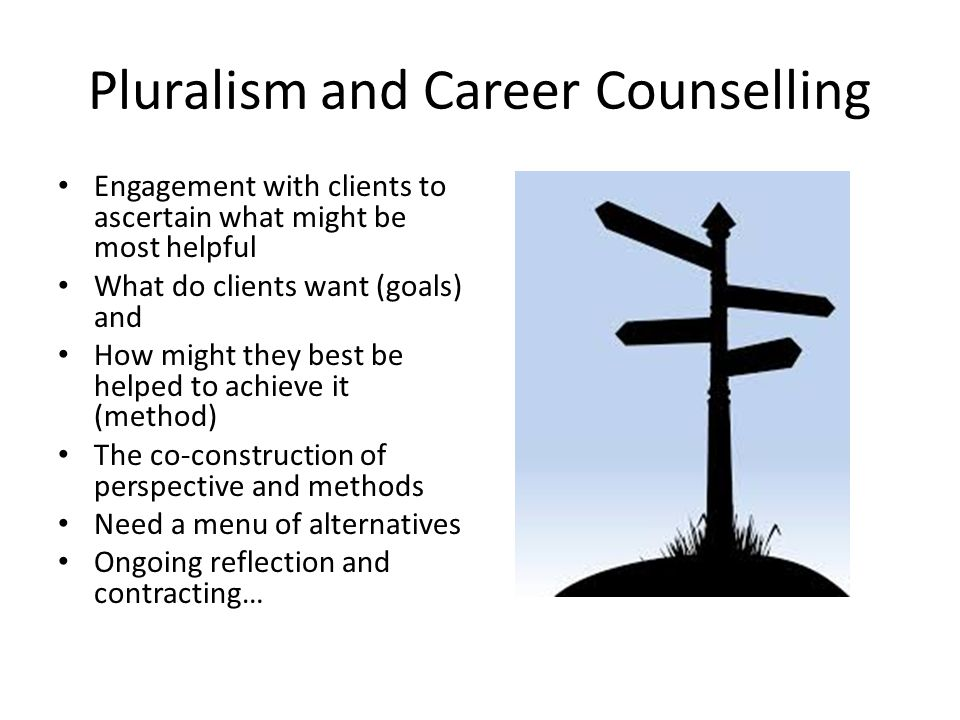 Pluralism and Career Counselling Engagement with clients to ascertain what might be most helpful What do clients want (goals) and How might they best be helped to achieve it (method) The co-construction of perspective and methods Need a menu of alternatives Ongoing reflection and contracting…