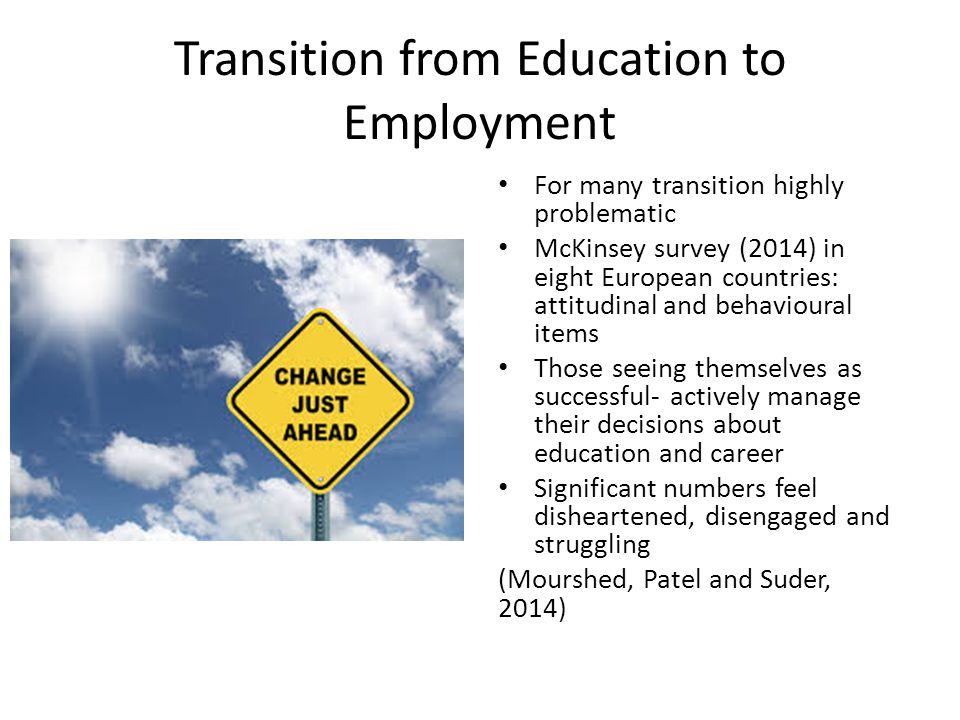 Transition from Education to Employment For many transition highly problematic McKinsey survey (2014) in eight European countries: attitudinal and behavioural items Those seeing themselves as successful- actively manage their decisions about education and career Significant numbers feel disheartened, disengaged and struggling (Mourshed, Patel and Suder, 2014)