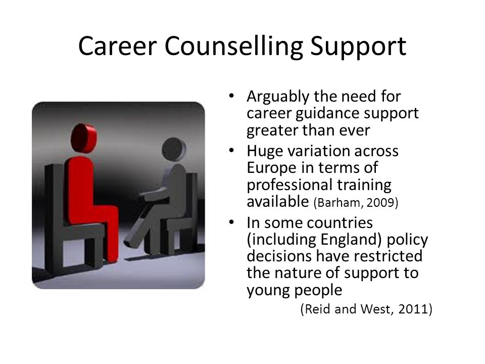 Career Counselling Support Arguably the need for career guidance support greater than ever Huge variation across Europe in terms of professional training available (Barham, 2009) In some countries (including England) policy decisions have restricted the nature of support to young people (Reid and West, 2011)