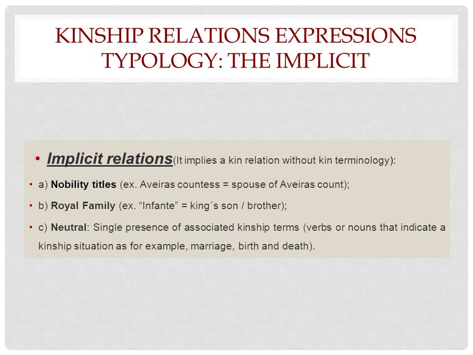 KINSHIP RELATIONS EXPRESSIONS TYPOLOGY: THE IMPLICIT Implicit relations (It implies a kin relation without kin terminology): a) Nobility titles (ex.