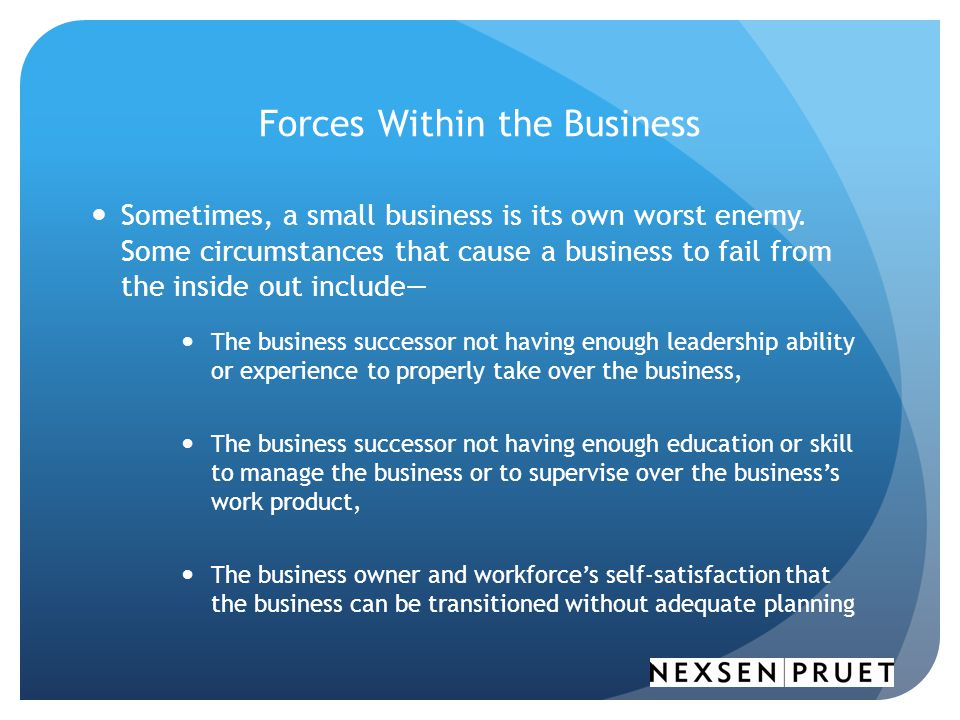 Forces Within the Business Sometimes, a small business is its own worst enemy.