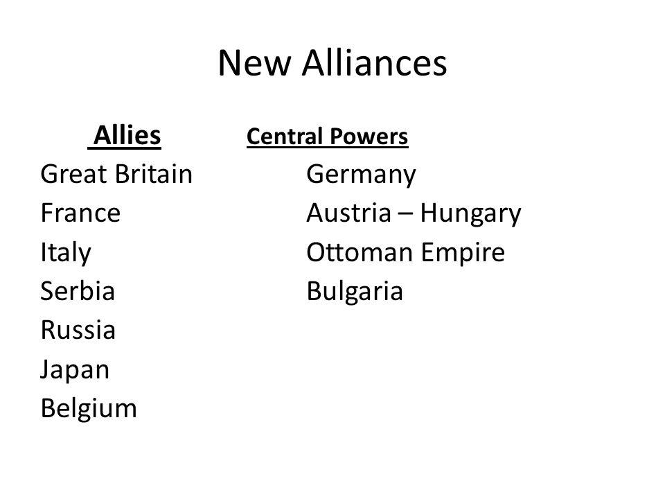 Fragile Alliances 1871 last great European conflict 1907 two camps evolve: – Triple Alliance (Central Powers) Germany, A-H, Italy – Triple Entente (Al
