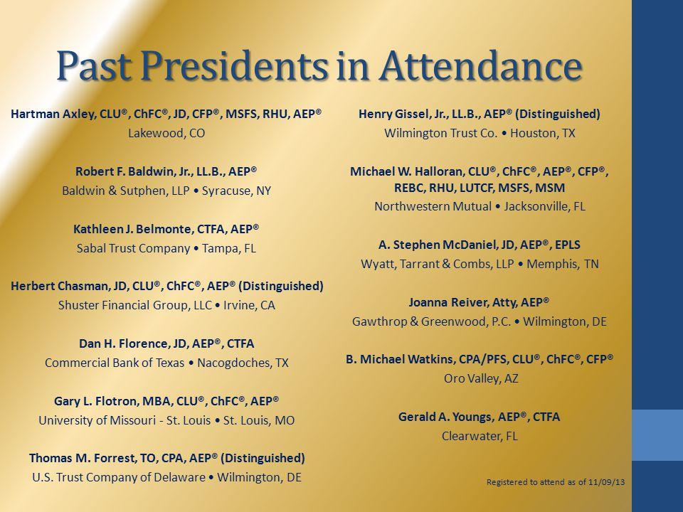 Past Presidents in Attendance Hartman Axley, CLU®, ChFC®, JD, CFP®, MSFS, RHU, AEP® Lakewood, CO Robert F.
