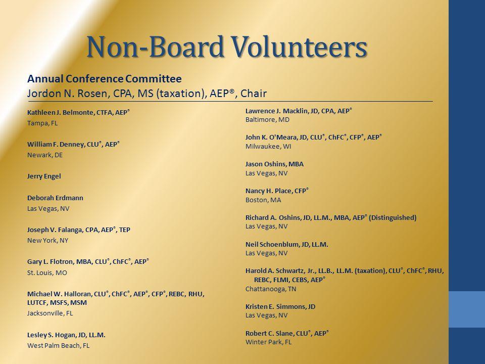Non-Board Volunteers Kathleen J. Belmonte, CTFA, AEP ® Tampa, FL William F.