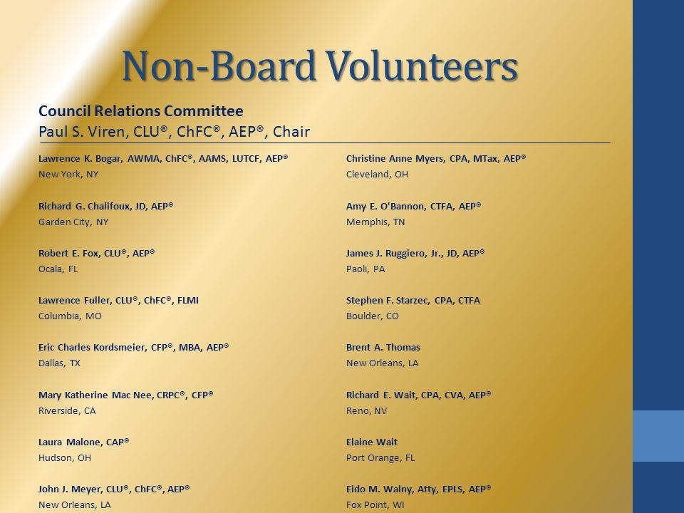 Non-Board Volunteers Lawrence K. Bogar, AWMA, ChFC®, AAMS, LUTCF, AEP® New York, NY Richard G.