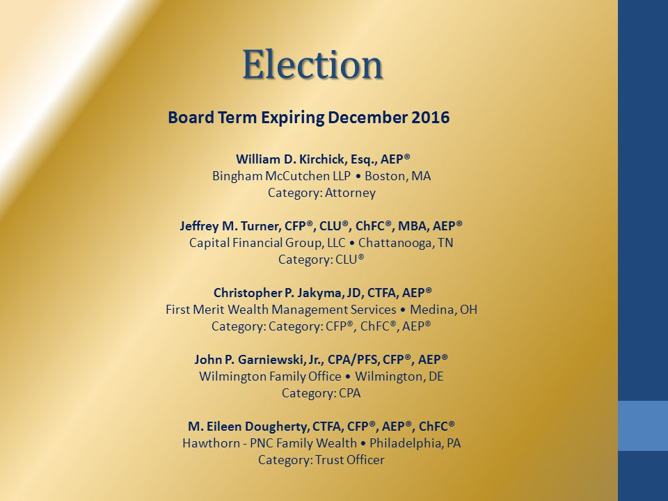 Election Board Term Expiring December 2016 William D. Kirchick, Esq., AEP® Bingham McCutchen LLP Boston, MA Category: Attorney Jeffrey M. Turner, CFP®