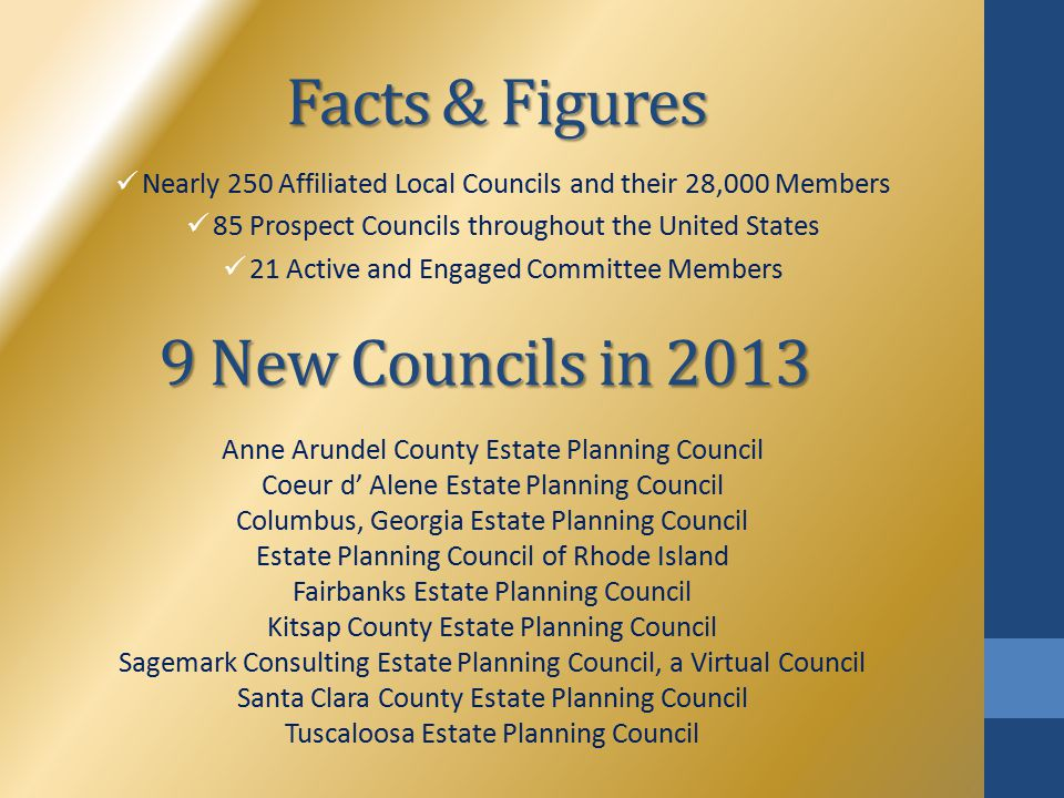 Facts & Figures Nearly 250 Affiliated Local Councils and their 28,000 Members 85 Prospect Councils throughout the United States 21 Active and Engaged