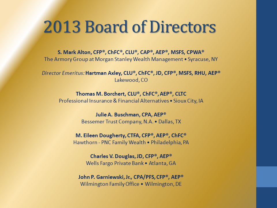 2013 Board of Directors S. Mark Alton, CFP®, ChFC®, CLU®, CAP®, AEP®, MSFS, CPWA® The Armory Group at Morgan Stanley Wealth Management Syracuse, NY Di