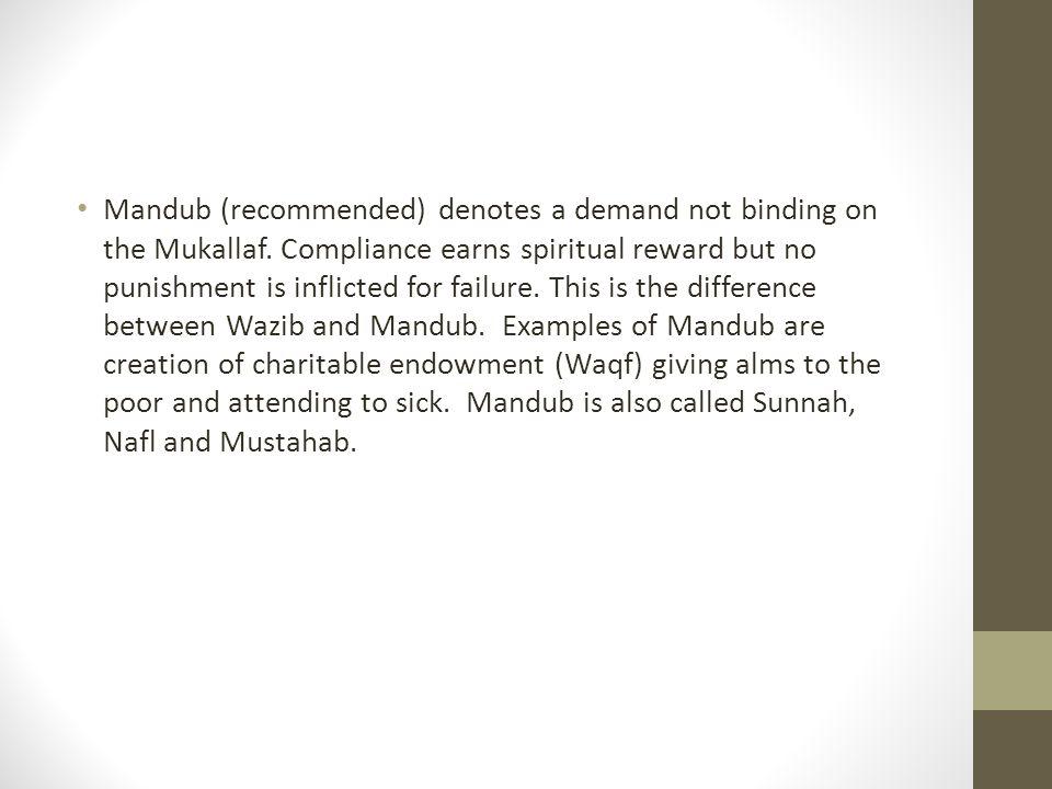 Sunnah (Mandub) has been clasified into (a) emphatic sunnah (Sunnah-al Muakkadah (examples are adhan, attending congregational prayer) and (b) Supererogatory Sunnah (Sunnah Ghair al-Muakkadah).