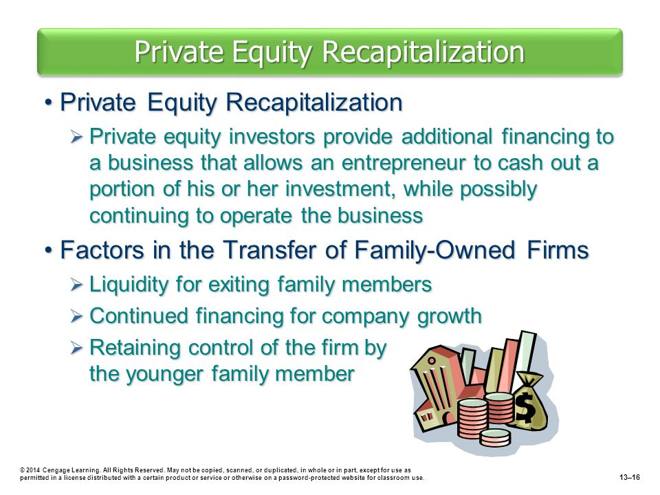 Private Equity Recapitalization Private Equity RecapitalizationPrivate Equity Recapitalization  Private equity investors provide additional financing