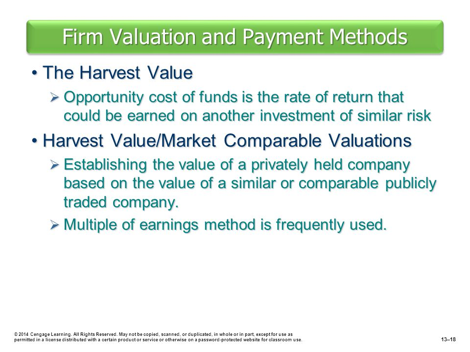 Firm Valuation and Payment Methods The Harvest ValueThe Harvest Value  Opportunity cost of funds is the rate of return that could be earned on anothe