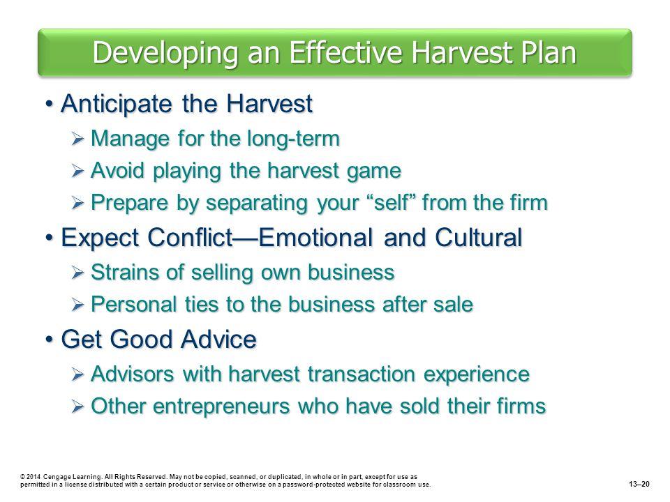 Developing an Effective Harvest Plan Anticipate the HarvestAnticipate the Harvest  Manage for the long-term  Avoid playing the harvest game  Prepar