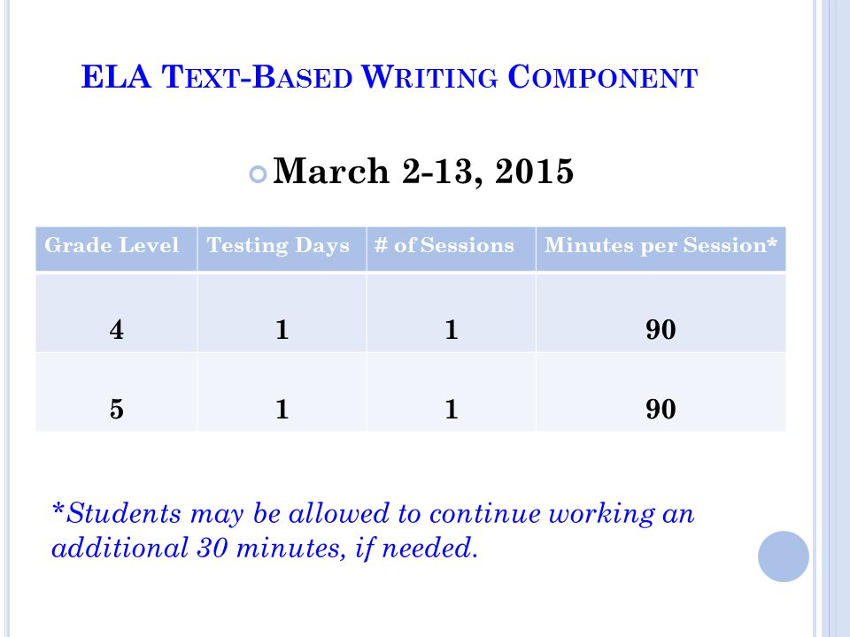 ELA T EXT -B ASED W RITING C OMPONENT *Students may be allowed to continue working an additional 30 minutes, if needed.