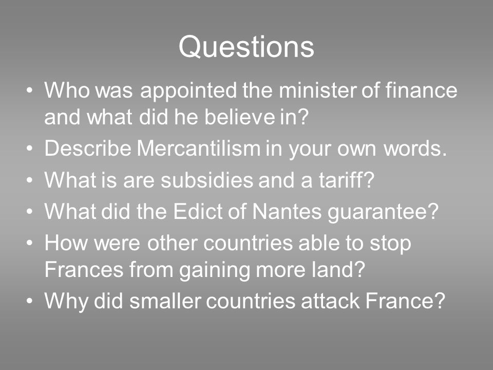 Questions Who was appointed the minister of finance and what did he believe in.