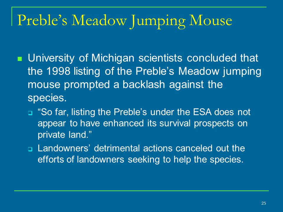 Preble's Meadow Jumping Mouse University of Michigan scientists concluded that the 1998 listing of the Preble's Meadow jumping mouse prompted a backlash against the species.