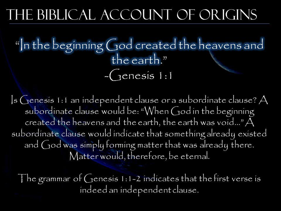 The Biblical Account of Origins