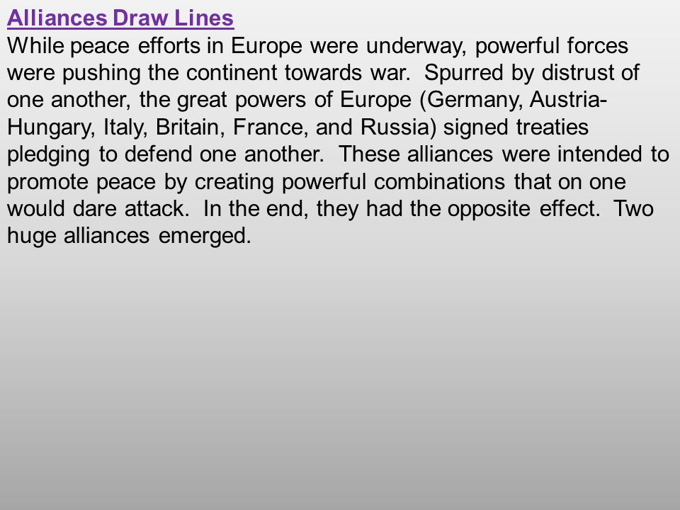 The Triple Alliance The first of these alliances had its origins in Germany.