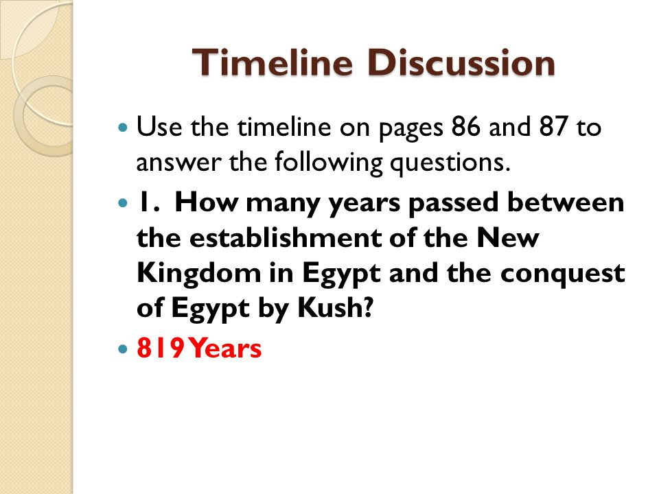 Timeline Discussion Use the timeline on pages 86 and 87 to answer the following questions.