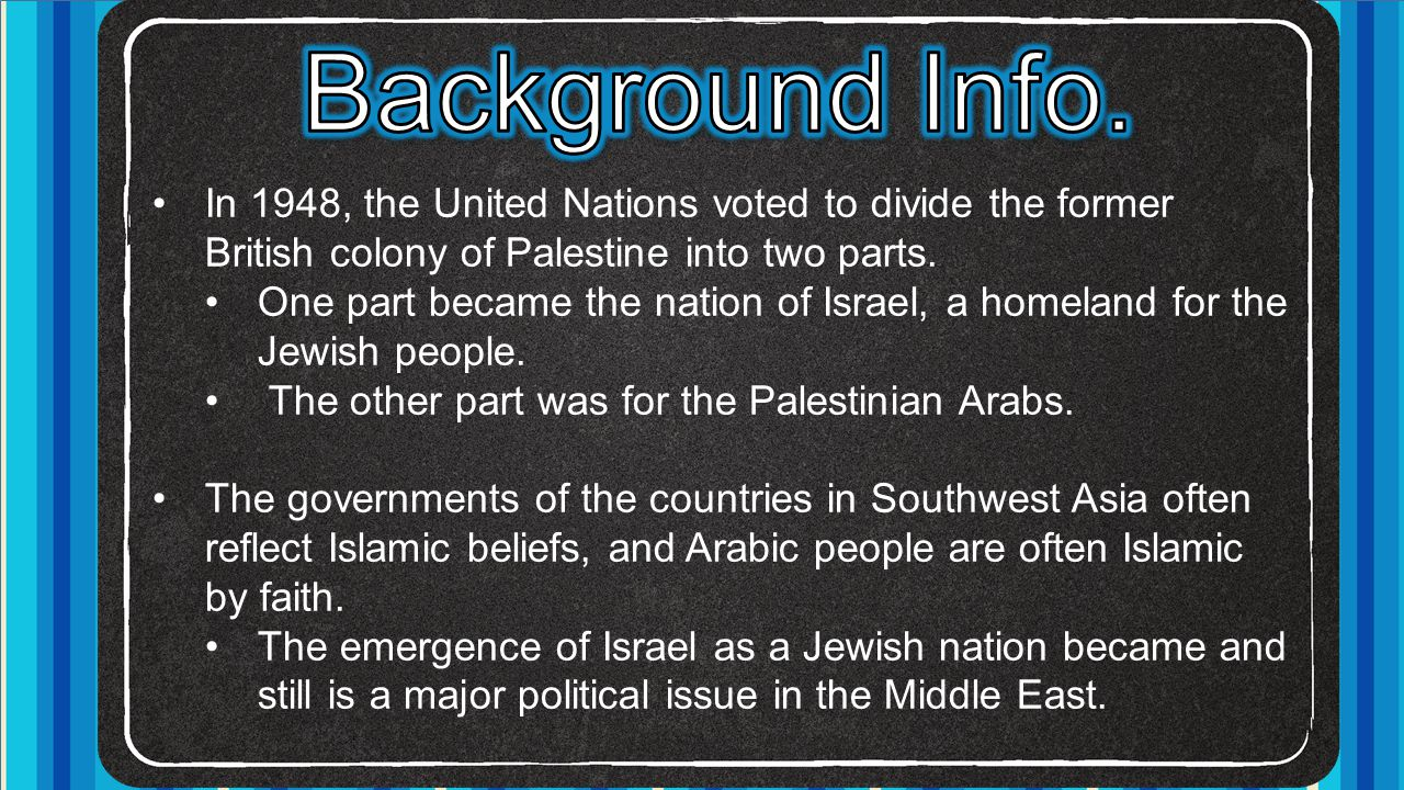 In 1948, the United Nations voted to divide the former British colony of Palestine into two parts. One part became the nation of Israel, a homeland fo